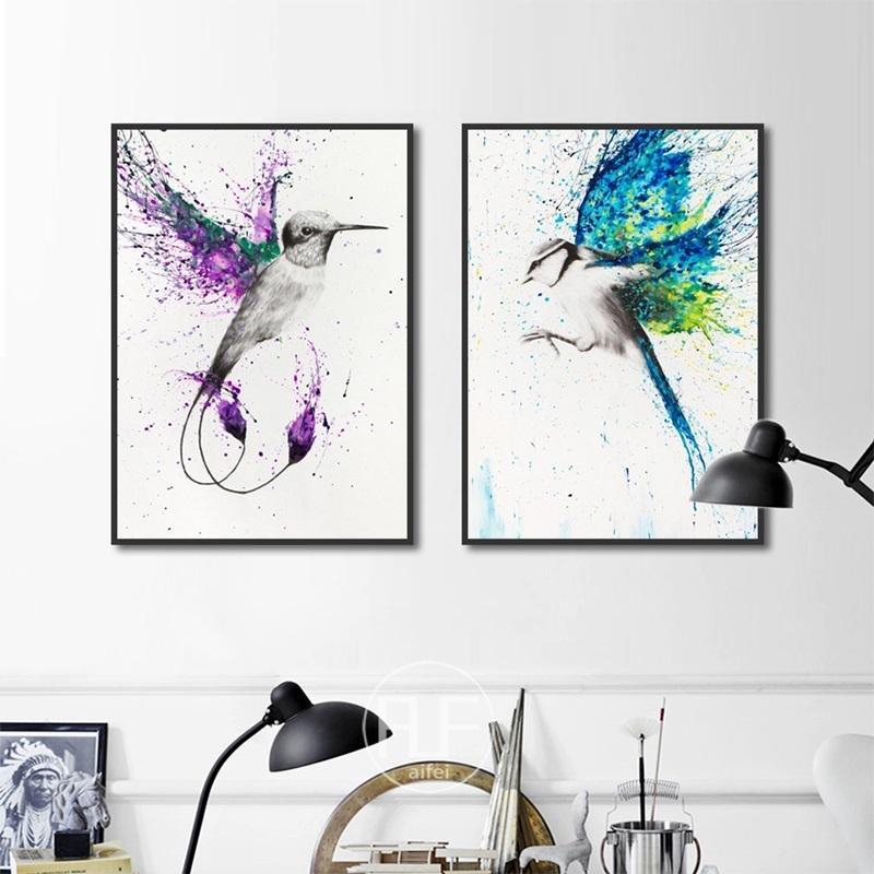 Decoración Nordica, pósteres Каса е Impresiones, salpicaduras creativas, coloridas Aves voladoras, Pintura ан лиенсо, арте-де-Паред,