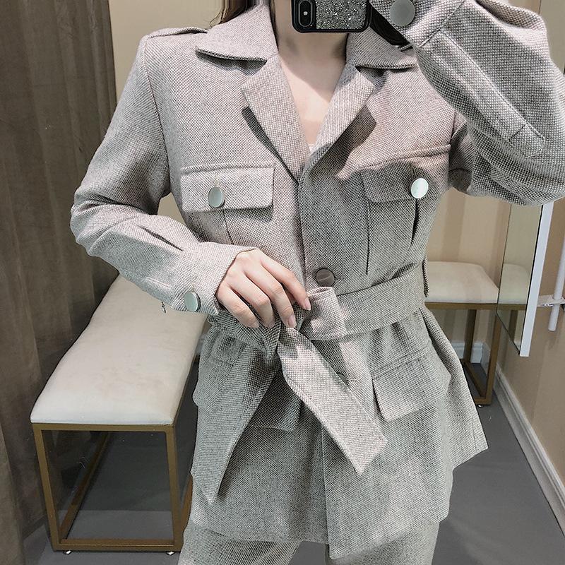 Tute da donna Taillovvvinsolid colore singolo petto donna cappotto dritto pantaloni da donna ufficio vestito semplice moda 2021 autunno inverno f11