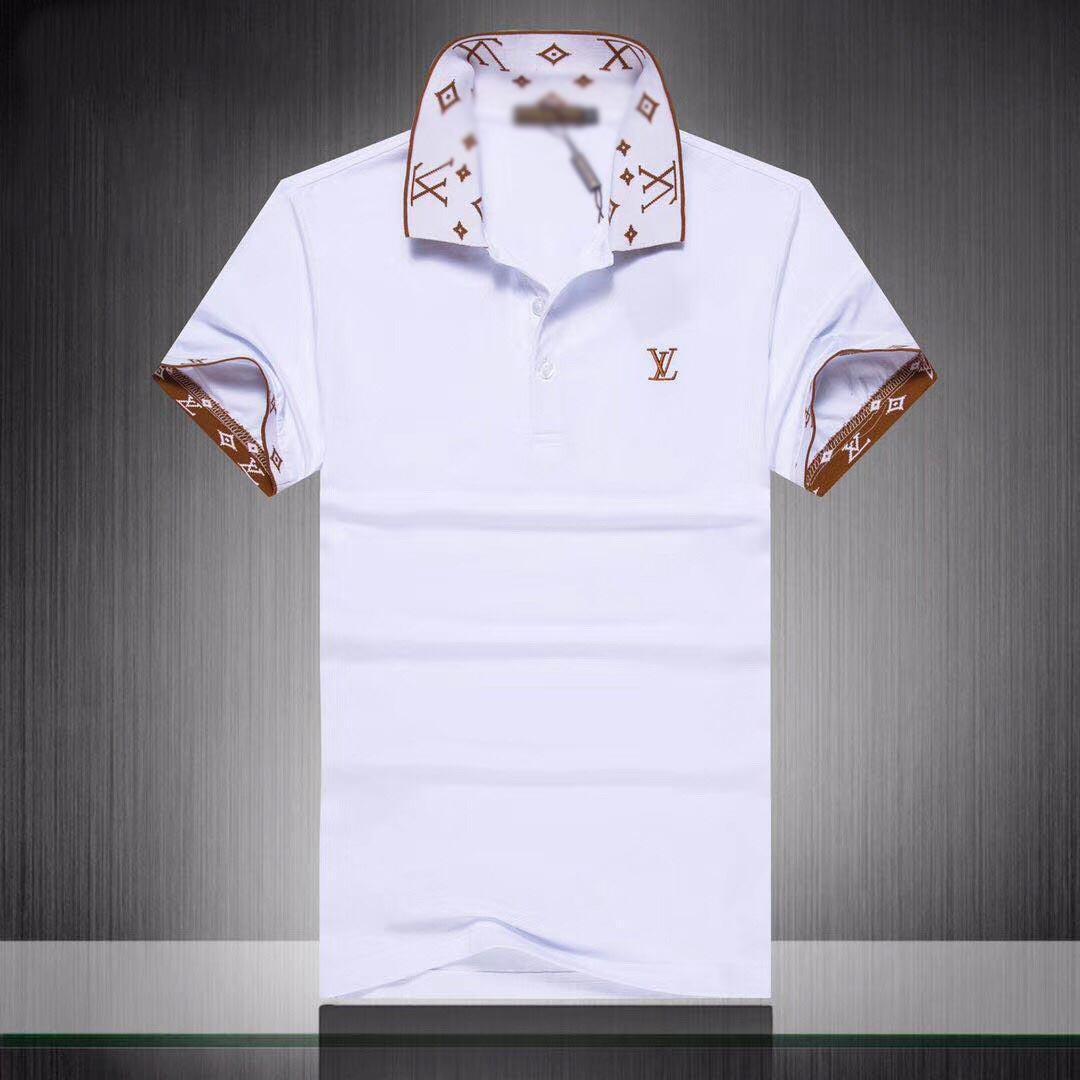 2020 caliente Europa de lujo para hombre de la raya de empalme camiseta de alta calidad de tornillo de rosca carta del polo del algodón p