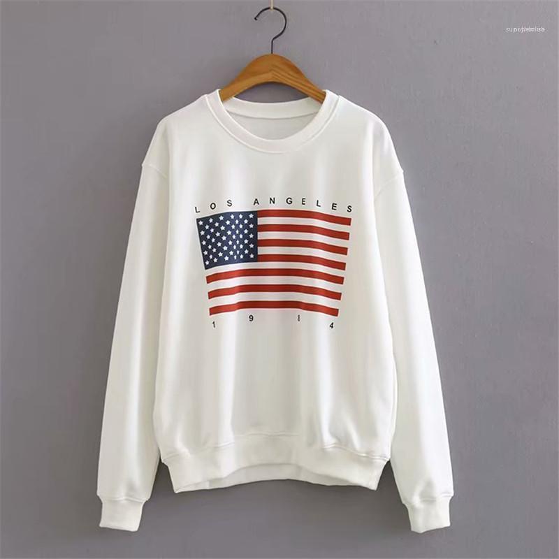 Kragen Sweatshirts Mode Frauen Casual Tops Designer Frauen Pullover Sweatshirts Amerikanische Flagge Drucken Weibliche Langarm Runde