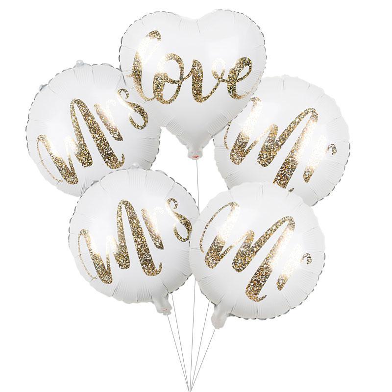 1pc 18inch Sig.ra Bianca oro lettera d'amore stagnola Balloons festa di nozze della sposa di essere impegnato forniture da parte Air Globos