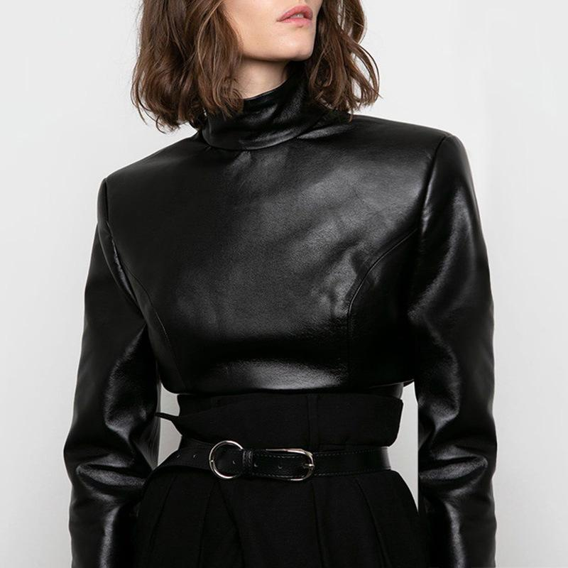 Elegant Faux Leather Padded Shoulder Blouse Shirts Women Autumn Winter PU Back Buttons Turtleneck Long Sleeve Laides Tops 2020