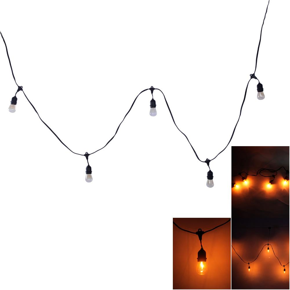 LED Strings S14 24 Pieces Light led lights Bulbs Outdoor Yard outdoor Christmas lights 120V 12W Strings Light with Black Lamp Wire - L