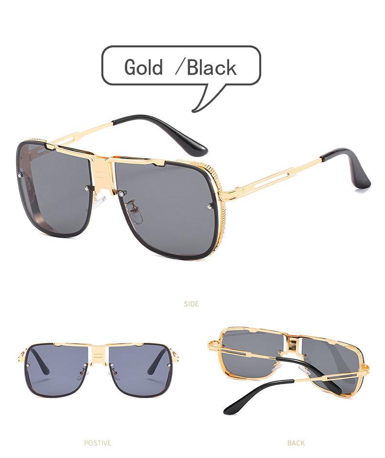 Plata del marco del marco del metal de doble haz Gafas de sol Gafas a prueba de viento de oro de moda Accesorios Gafas de sol de los hombres de 5 colores AVAILABL