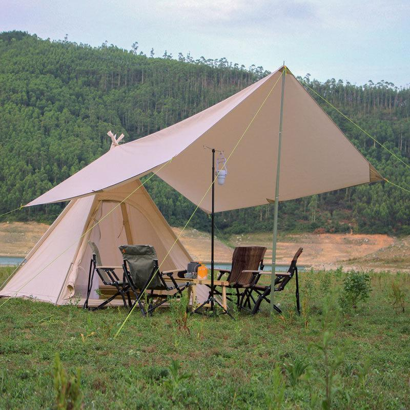 Landwolf exterior de algodão / oxford Tent add sunshelter 3-4 Pessoas Camping Pyramid Canopy Top Camping Tecnologia de Algodão