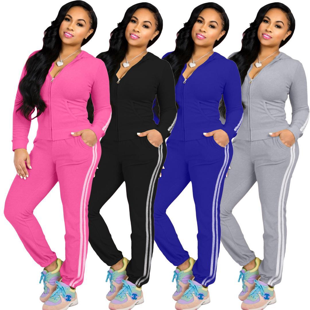 Womens Set Outono Ativo usar casacos Jogger Sweatpants Suit Treino Desportivo Matching Two Piece Set aptidão Outfit
