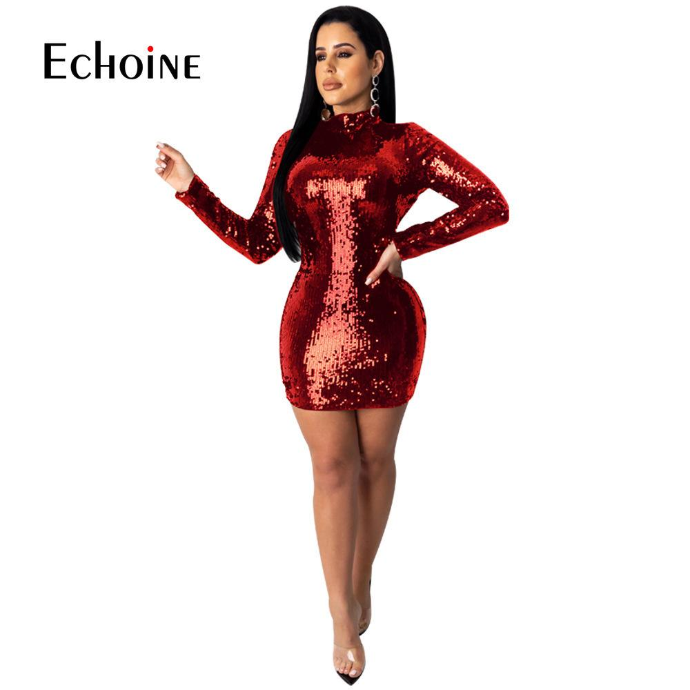 Sparkly Sequin Sexy Backless Bodycon Mini Dress Women Long Sleeve Tight Fitted Black Red Dresses Woman Party Night Club Outfits T200813