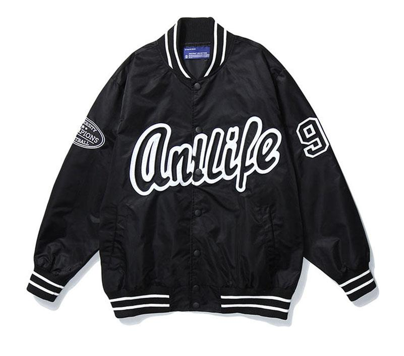 독특한 망 야구 재킷 패션 디자이너 힙합 편지 자수 Outwear 윈드 브레이커 스트리트웨어 남성 블랙에 대 한 큰 크기 코트