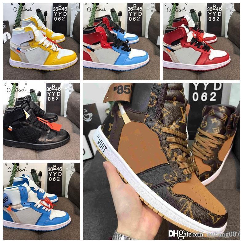 2020 es un vendedor caliente de alta OG 1s de los zapatos de baloncesto del Mens UNC conjuntamente Firmado Chicago 1 Poder Azul Blanco Rojo zapatillas de deporte de los hombres de Carolina del Norte Wome