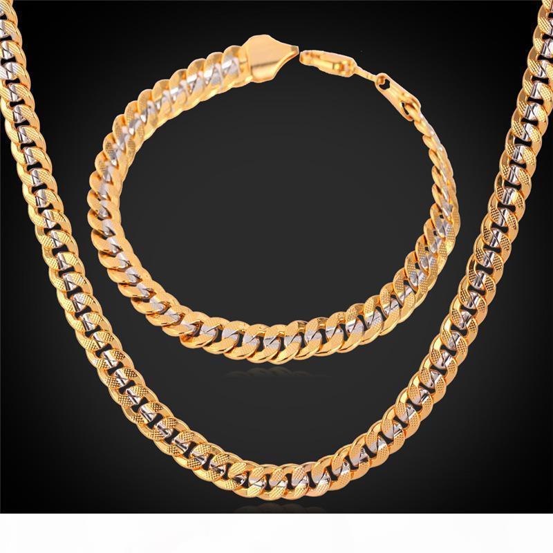 6MM Altın Zincir 18K Damga Erkekler Kadınlar 18K İki Ton Altın Kaplama frenlemek Zincir kolye bilezik Seti