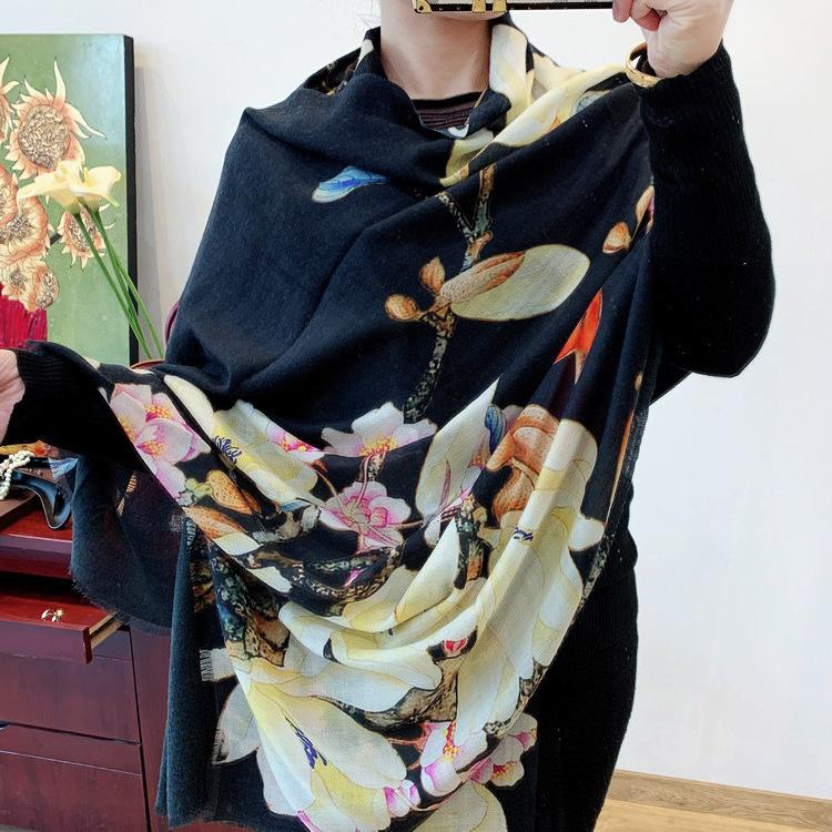 New 2020 Thrush Bird With Magnolia 300 Branch Super Fine Pure Cashmere Shawl Long Money Scarf Female Winter Thin Section