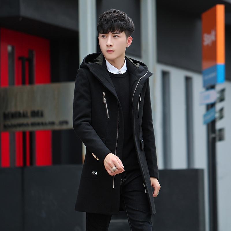 jpH5u 2019 Осень пальто средней длиной ветровки корейского стиля шерстяных с капюшоном Ветровки мужских пальто утолщенной молодёжной мужской одеждой