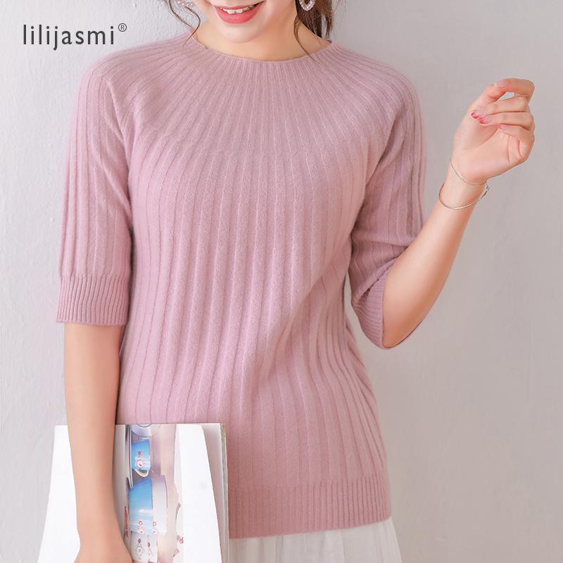 100% del O-cuello de las lanas de las mujeres medio de la manga acanalada Pullover super suave lana fina Mujeres Paraguas de punto T-shirt 4 colores de moda suéter