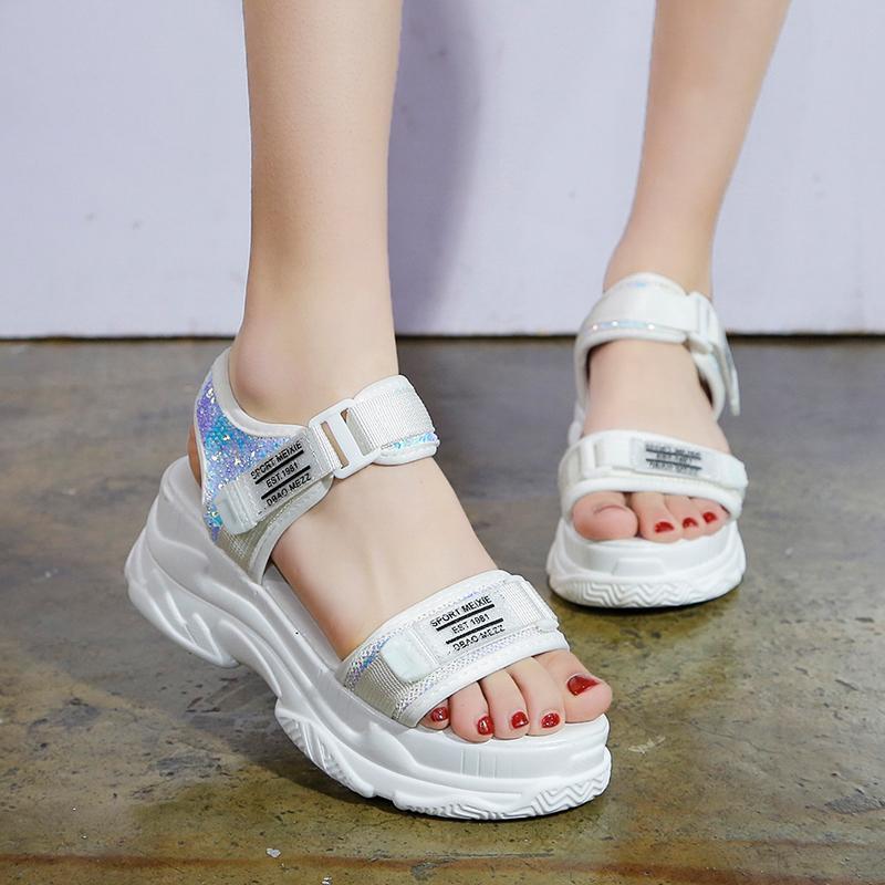 2020 mujeres de los zapatos gruesos de fondo de cuña con Peep Toe Mujer Sandalia zapatos crecientes Plataforma de Mujeres sandalias de verano de mujeres