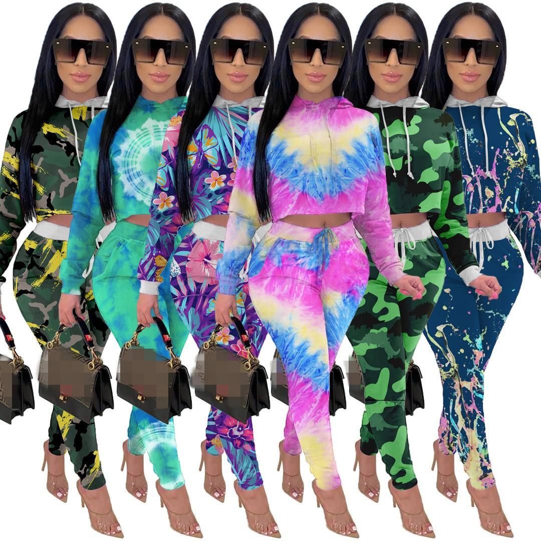 Moda Multicolored Mulheres Com Capuz Tracksuits Outono Manga Longa Suéter + Calças Esportivas Solto Clubwear Outfits Casual Duas Peças