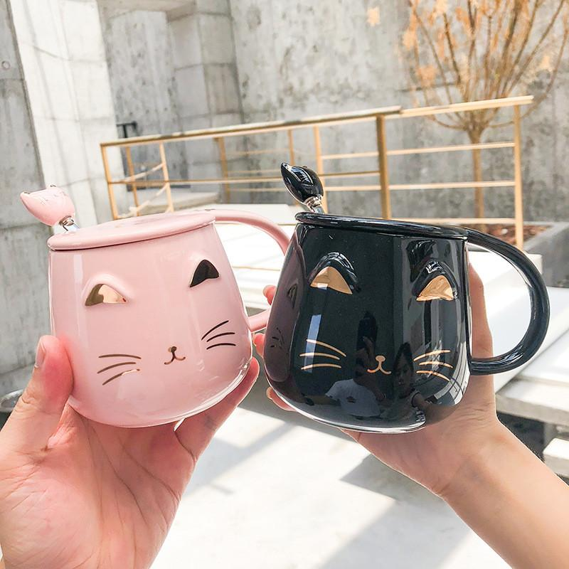 Creative Cute Big Belly Cup Novelty Cartoon Black White Cat Coffee Mug With Lid And Spoon For Office And Home Perfect Gifts