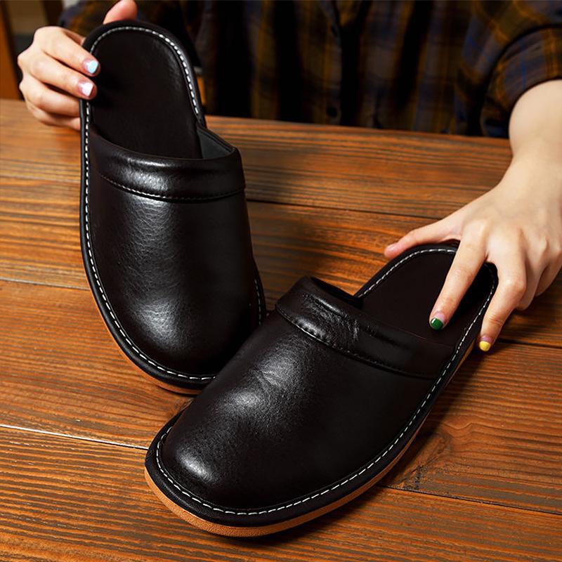 PU Deri Terlik Unisex Ev Ayakkabı Erkekler Kapalı Terlik 2020 İlkbahar Yeni Klasik Ayakkabı Erkek Deri Terlik
