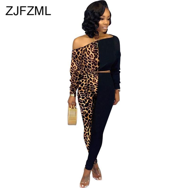 Leopard Patchwork sexy Ensemble 2 pièces Femmes Tenues épaule manches longues Sloping Crop Pants Top et longues Plus Size Deux Set Pieces T200813