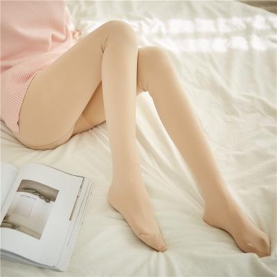 Outono e Inverno engrossado Quente Leggings leggings cintura alta calça imitação nylon micro pressão grande tamanho quente seamle de lã das mulheres