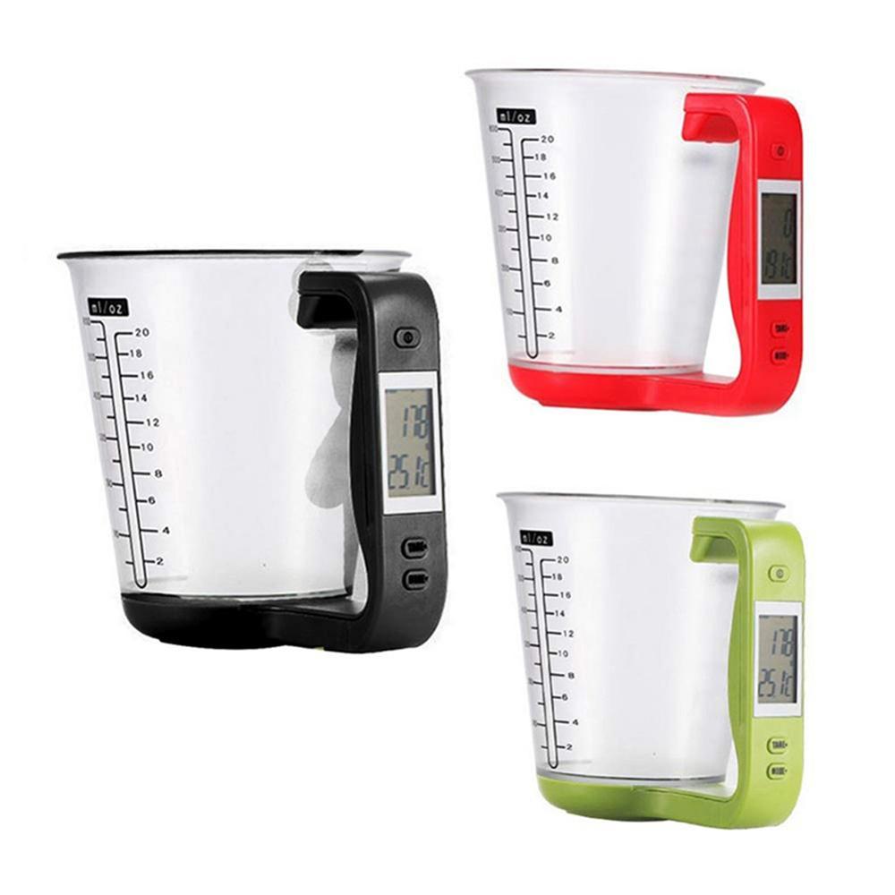 Nueva cocina taza de medición Escala electrónica digital con pantalla LCD multifuncional de temperatura para líquidos Medición Copas Dropship