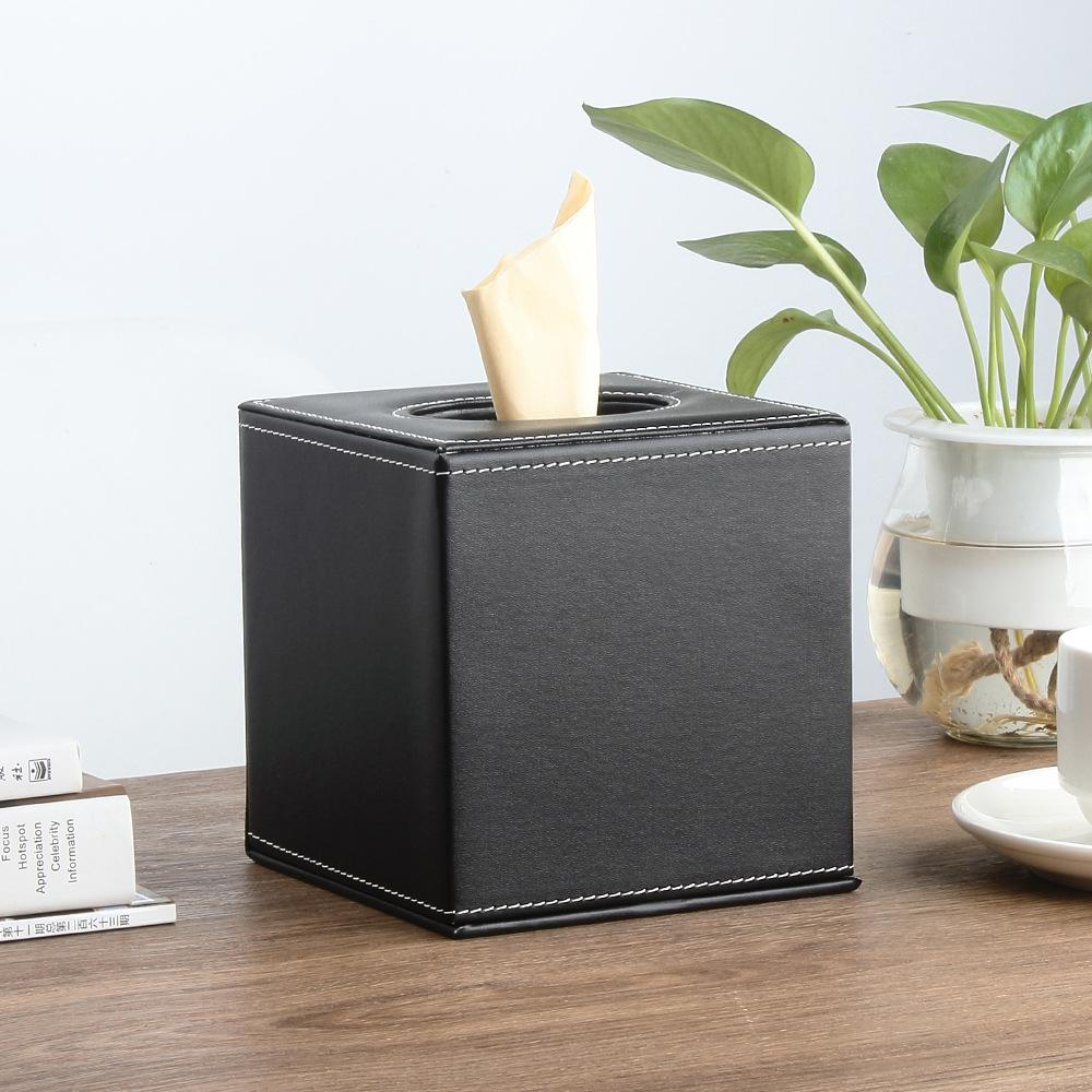 PU Leather Square Roll Tissue Box Holder Cover Napkin Paper Box Case Tray Pumping for Home Office Car 13.5 x 13.5 x 14 cm