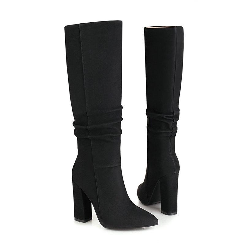 Botas mujeres gruesas tacones altos rodilla puntiagudo punteado otoño invierno damas plisado moda zapatos mujer