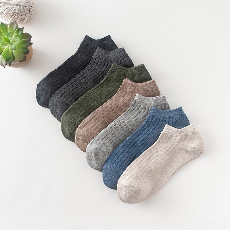 nueva ocasional del color sólido de los hombres DrmUt transpirable verano y algodón Barco y barco calcetines cómodos rayas calcetines de los hombres de tubos cortos