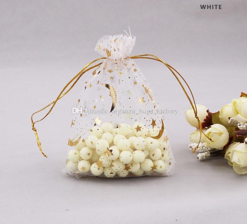100 Pçs / lote Branco Star Star Organza Favor Sacos de cordão 4sizes malotas de embalagens de jóias de casamento, bom presente de sacos fábrica