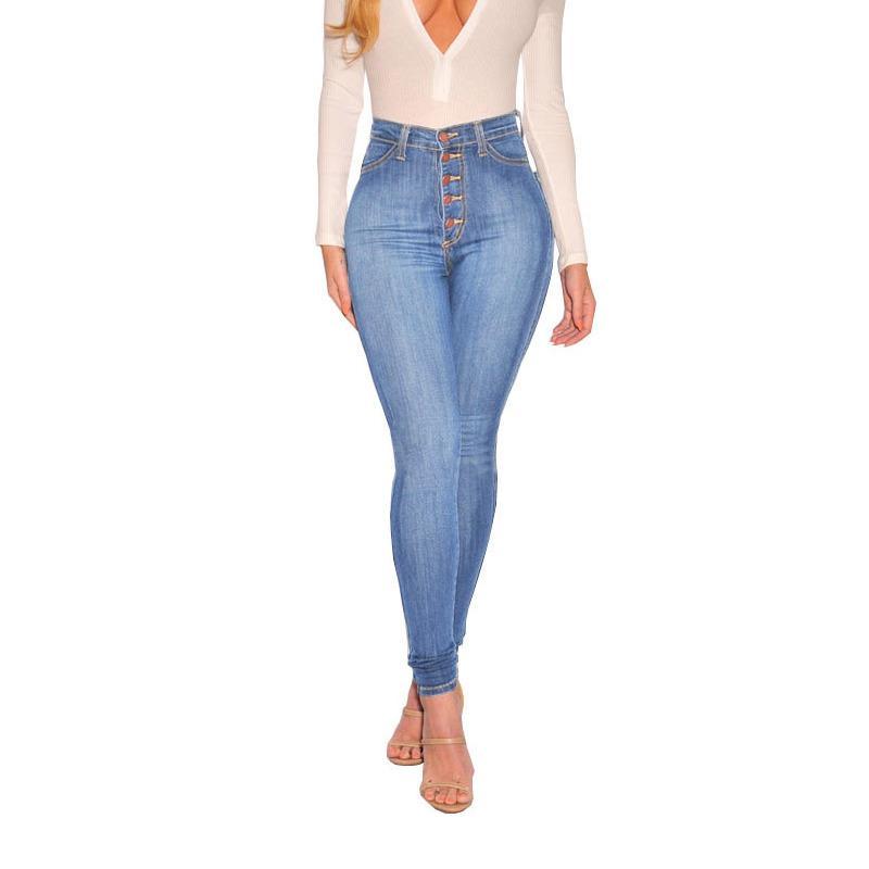 Vita alta Jeans per le donne 2020 pantaloni Primavera Autunno Blu a vita alta Jeans aderenti donna matita del denim femminile LJ200820