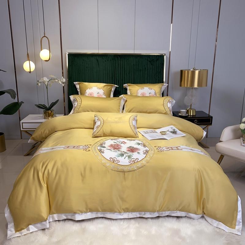 Giallo Rosa Verde cinese stile floreale ricamo 60S raso di seta Bedding Set Copripiumino Come Lenzuola Coprimaterasso Federe