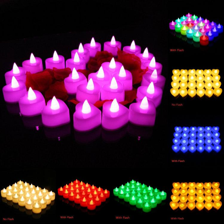 Moda 24 piezas / set luz de las velas de cumpleaños LED fiesta de la boda del partido de Navidad de Halloween luces decorativas redonda en forma de corazón ZJ00111 Flash