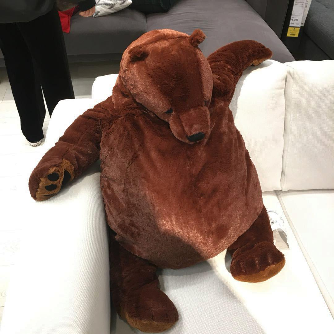 100cm giant simulation DJUNGELSKOG bear toy Brown Teddy Bear Stuffed Animal Toy*