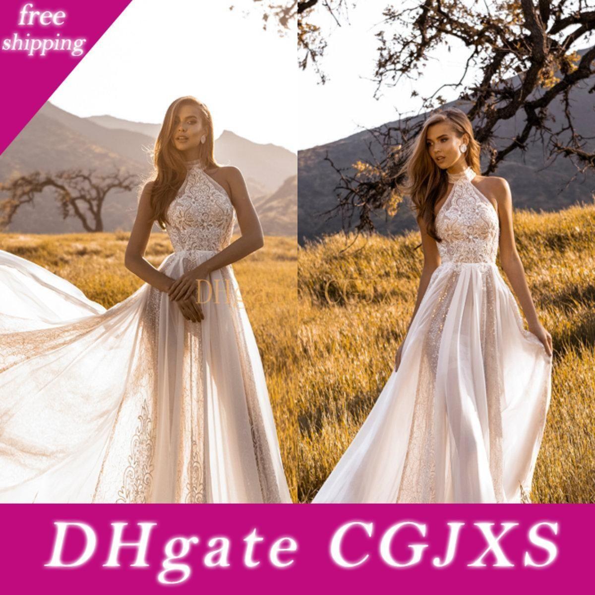 2020 New Summer Boho Wedding Dresses Garden Bohemian A Line Halter Neck Lace Bodice Long Beach Country Bridal Gowns