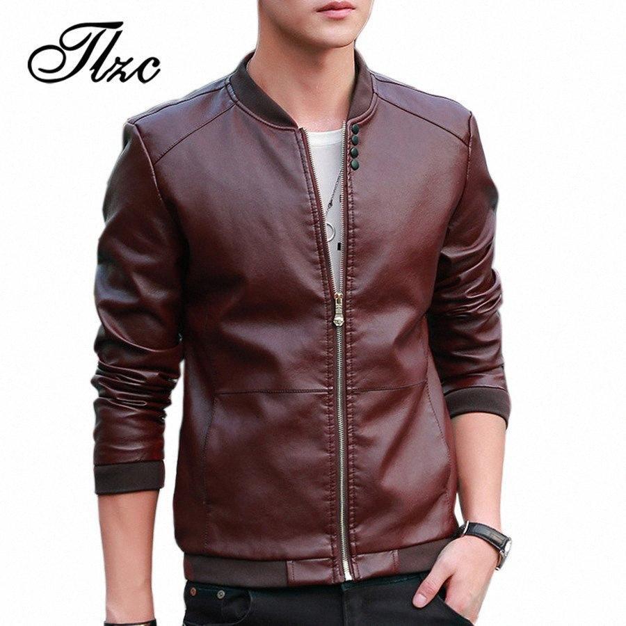 TLZC 2018 Sonbahar Kış Erkek Moda Casual eskitmek Ceket Plus Size M-4XL Erkek Deri Ceket Kore Slim Fit Deri ceketler 47JI #