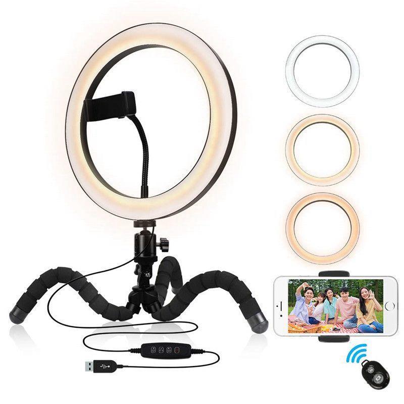 9 pouces Annulaire avec téléphone Stand trépied flexible Support Dimmable selfie lumière à distance sans fil pour YouTube / Photographie / Maquillage