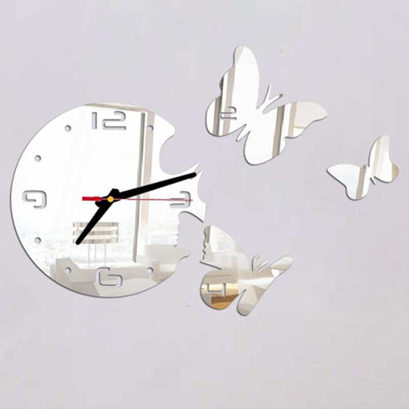 Atacado 2016 Top Fashion Acrílico Espelho redondo relógio de cristal relógios de parede Borboletas Home Decor Modern Living Room Etiqueta P20