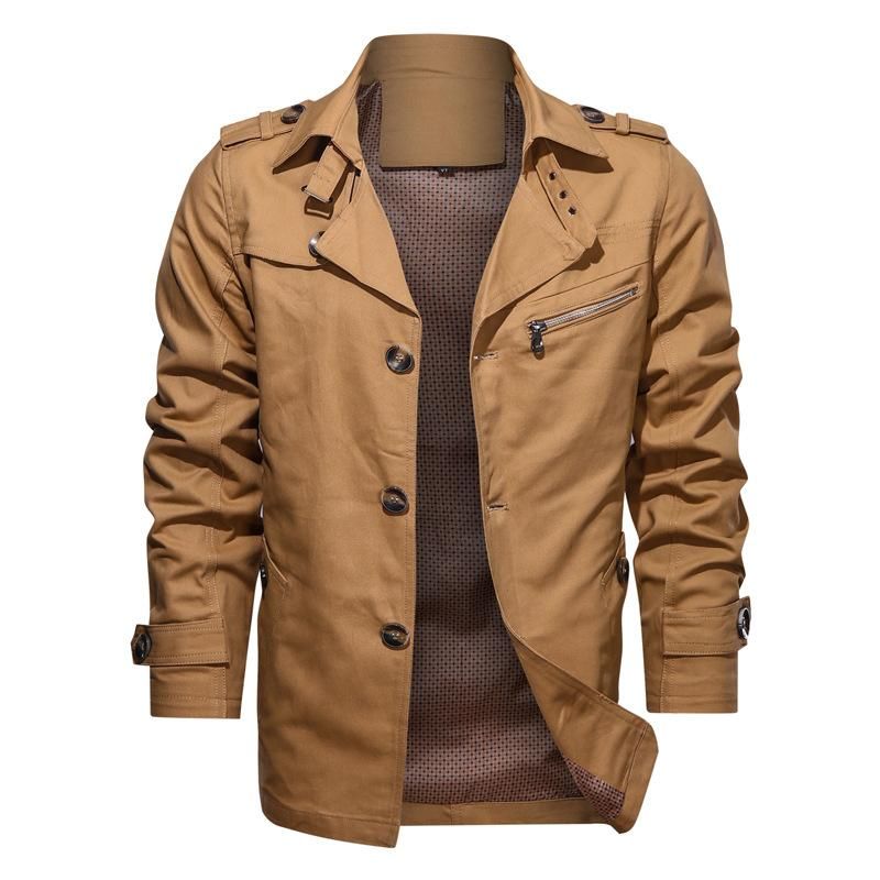 Men's Jackets ISurvivor 2021 Autumn Pure Cotton Casual Jacket Fashion Solid Color Lapel Mid-length Single-breasted