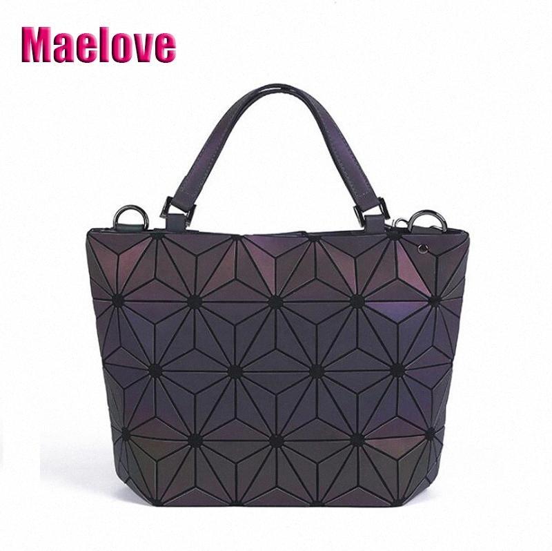 Maelove Luminous Bag Fashion Womens Geometric Lattic Bag Women Geometry Shoulder Laser Folding Tote Hologram Cheap Designer Handbags B lhhB#