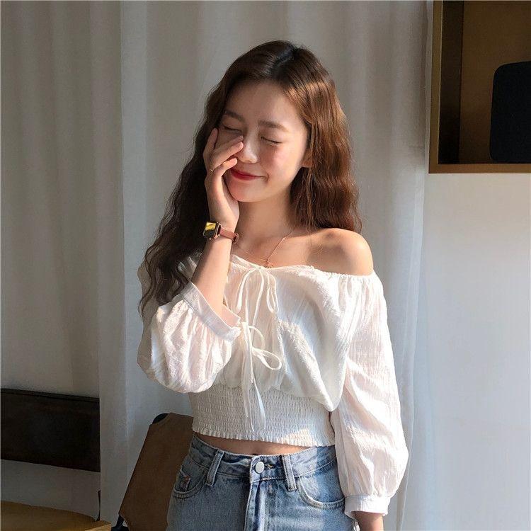 6FbPR 2020 verão nova-coreano superior doce-line uma alça colar cintura Top Lace curto camisa estilo manga de renda de Mulheres camisa nove trimestre