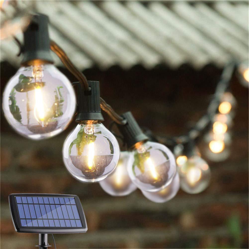 G40 Ampoule Globe solaire de lumières solaire de jardin Edison Ampoule lumières Lampe en verre rétro Garland Patio lumières pour Noël en plein air de soirée de mariage