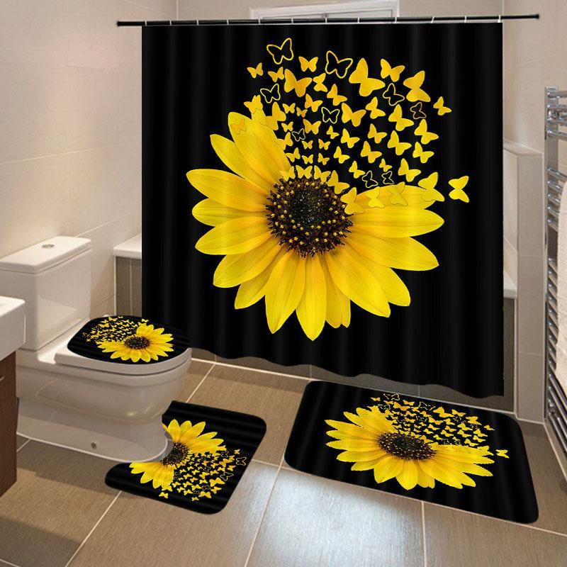 해바라기 나비 인쇄 샤워 커튼 방수 욕실 커튼 화장실 커버 매트 미끄럼 방지 깔개 세트 욕조 장식