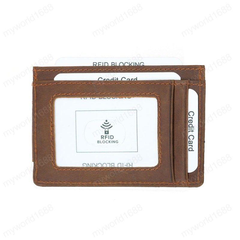 Из натуральной кожи Магнитного фронта Карманных денег клипа бумажник RFID Блокировка сильного магнит тонкого кошелька