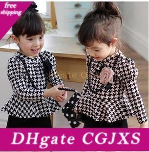 2019 nuevas muchachas clásico de la tela escocesa del volante vestido de los niños vestido de niña de vestir de manga larga S Gird bebé enrejado de la princesa vestidos de Ropa para Niños C001