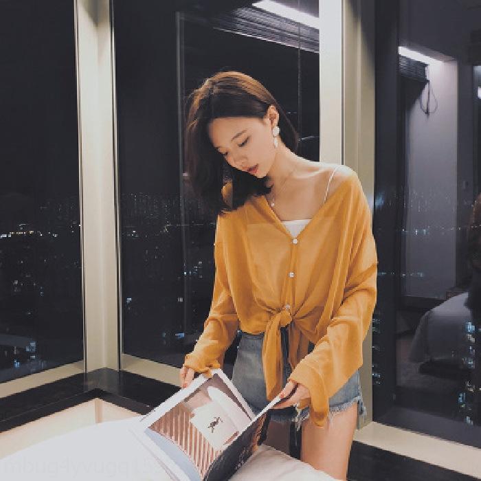 gMbwa NNFzu Küçük şal yaz dış hırka ince gömlek kadın Şal tüm maç buz orta boy güneş gömlek ipek Kore tarzı gevşek