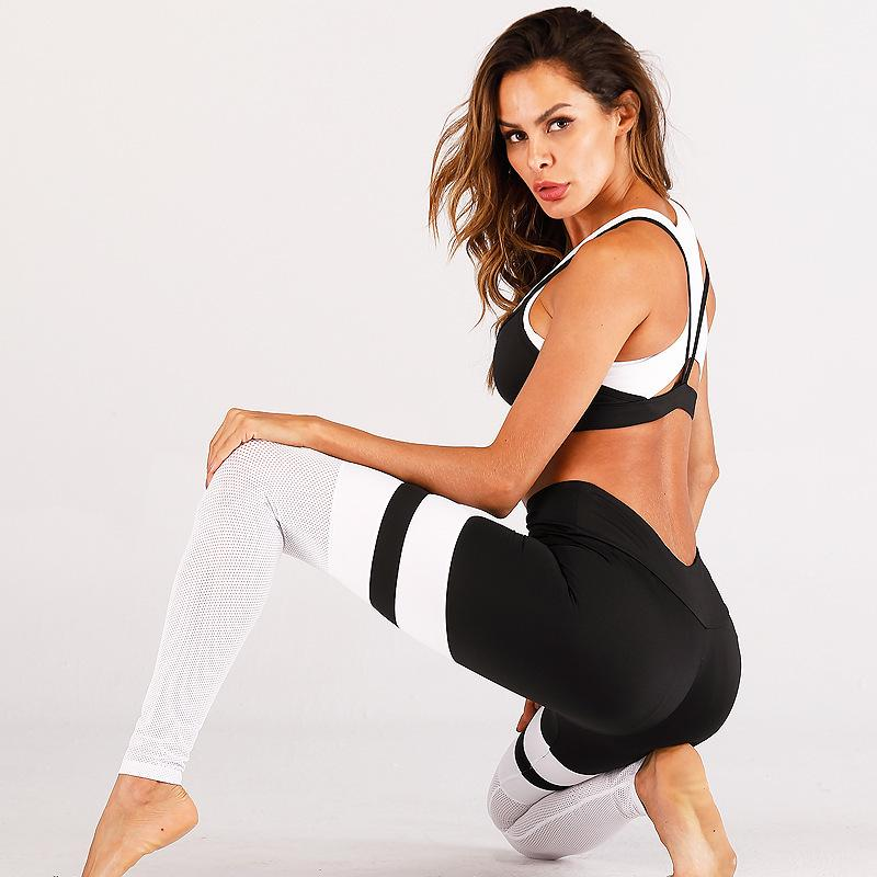 Yoga Pants Women Tights Frauen Yoga Leggings Sport feste Mesh-Fitness Hosen Push Up Fitness Gym Sports Gamaschen