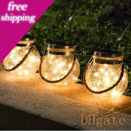 Luce del filo di rame solare impermeabile Vaso Crack sfera di vetro Outdoor Indoor Garden Terrazze Alberi di Natale decorazioni Led Lamp