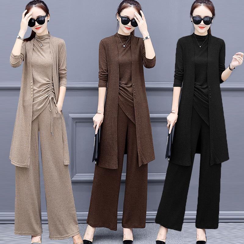 2020 große Frühling der Frauen des neue koreanische Art Strickwaren im westlichen Stil Anzug Fett mm Hose Mode Alter mindernde Strickwaren dreiteiligen Set 7Hsjf