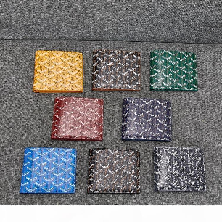 Goyarrd العلامة التجارية الجديدة مصمم جودة عالية الكلاسيكية والجلود Goyar أسود كلاسيكي شيفرون متعدد فتحة بي أضعاف سليم محفظة جلدية مربع جديد