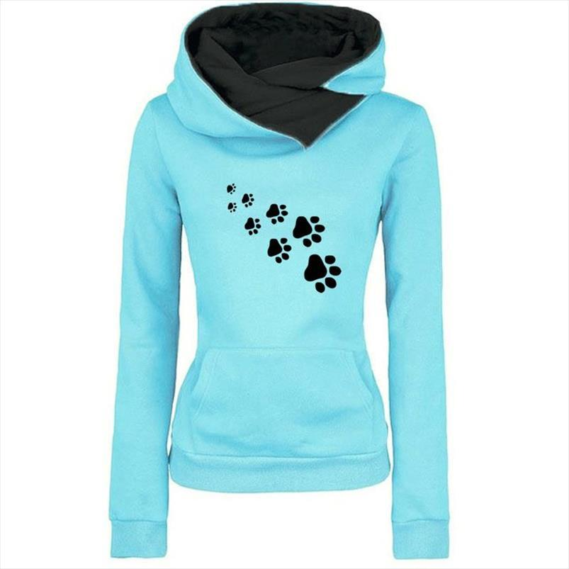 New Fashion Cat Dog Paw Print Sweatshirts Hoodies Women Tops Pockets Cotton Female Cropped Street Thick Winter Or Sping