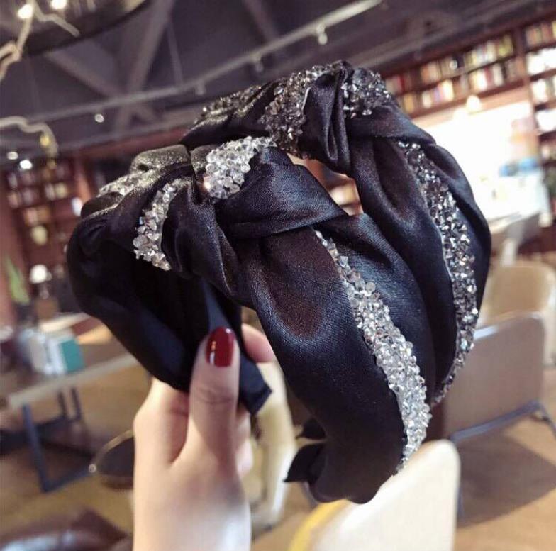 DIVE DIEADA DIEADA Tela de alta gama Diamante con incrustaciones con un nudo en la banda de cabeza media Accesorios para el cabello